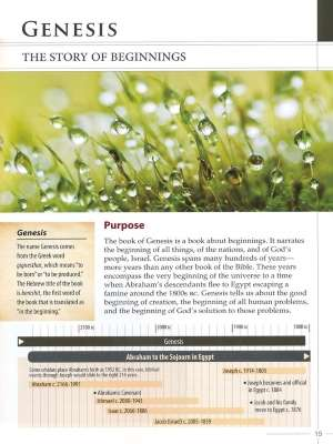 A sample page index explaining one book of the 66 books of the Bible with a greenery covered in dew Bible Overview header.
