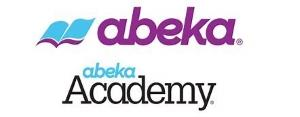 A gray, white, and light blue ad banner representing Abeka Academy, Abeka Homeschool Curriculum.