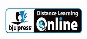 A white ad banner stating BJU Press Distance Learning Online in black letters.