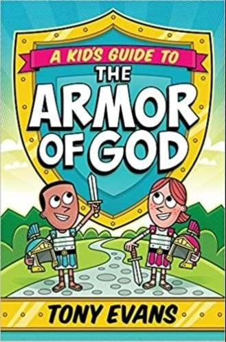 Red, yellow, and green book cover depicts boy and girl dressed in the Armor of God with shield ready for spiritual warfare battle