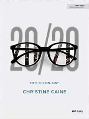 Book cover with a picture of reading glasses stating the title 20/20 Seen. Chosen. Sent in black text on light gray background.