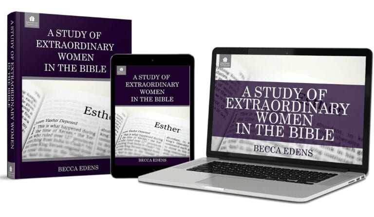 Picture of laptop showing the homeschool online course, A Study of Extraordinary Women in the Bible.