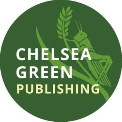 Large green circle showing grasshopper climbing a wheat stem advertising Chelsea Green Publishing.