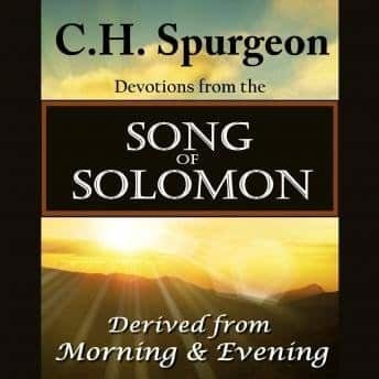 Audiobook cover showing a beautiful morning sunrise over mountains with beautiful white cotton clouds and blue sky stating Song of Solomon.