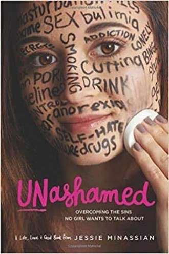 Teenage girl wiping words of sin such as bulimia, sex, smoking, drugs, etc off her face and overcoming the Deep-Rooted Sins No Girl Wants to Talk About.