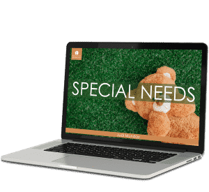 Laptop computer with green background and a picture of teddy bear showing Special Needs Homeschool Program.