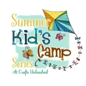 White banner with kite, butterflies and multi colors letters stating Summer Kids' Camp Series.