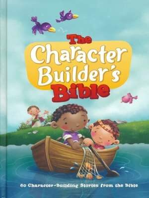 A book cover with two kids in fishing boat with a net full of fish and fish jumping out of water and birds flying in the sky and has big white and red letters stating The Character Builder's Bible.