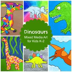 Six small pictures of different types of dinosaurs included in one frame with letters stating Mixed Media Art for Kids K-2.