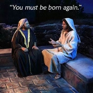 Nicodemus explaining to a woman You Must Be Born Again.