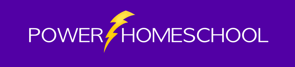 Purple picture with white letters stating Power Homeschool with a lighting strike in the middle.