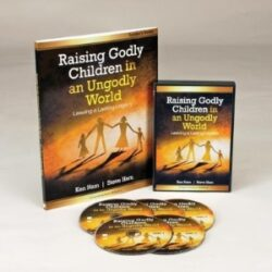 Picture displaying 5 DVDs, leader's guide, and printable workbook for personal study of Raising Godly Children in an Ungodly World.