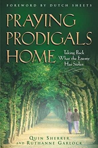 Beautiful book cover showing a long straight road with identical green trees on both sides and two people walking together and Praying Prodigals Home.