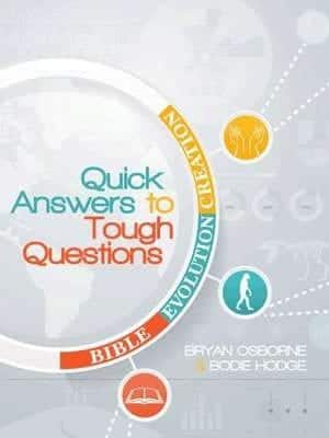 A beautiful white and sliver book cover with individual red, yellow and blue icons showing Bible, Evolution, and Creation stating Quick Answers To Tough Questions.