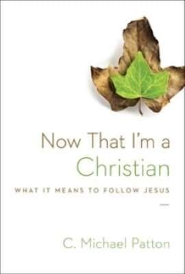 White book cover with a picture of a dead leaf renewed to fresh green leaf stating brown and green lettering Now That I'm a Christian, What it mean to follow Jesus?